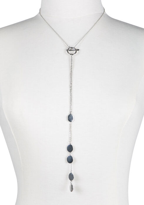 Ladies' Toggle Necklace, RHODIUM, hi-res