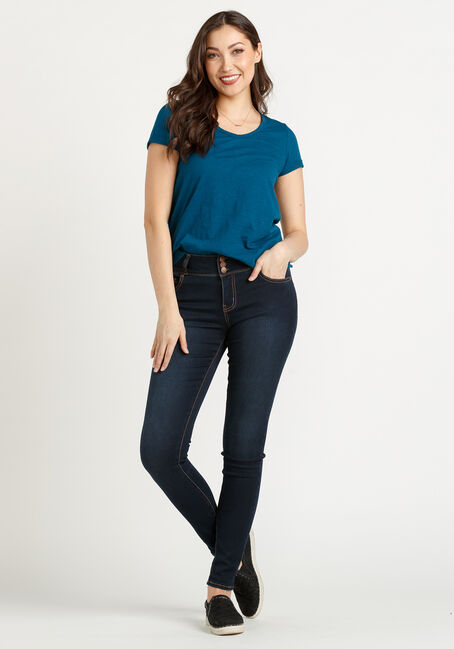 Women's Cuffed V-Neck Tee, TEAL, hi-res