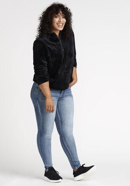 Women's Teddy Zip Neck Popover, BLACK, hi-res