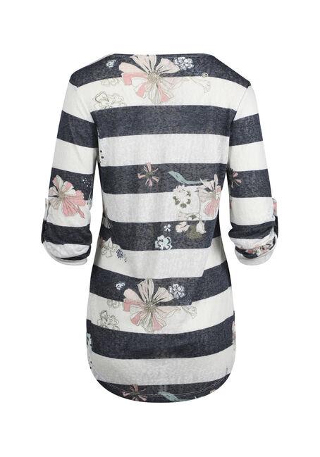 Ladies' Floral Stripe Tunic Tee, NAVY/WHITE, hi-res