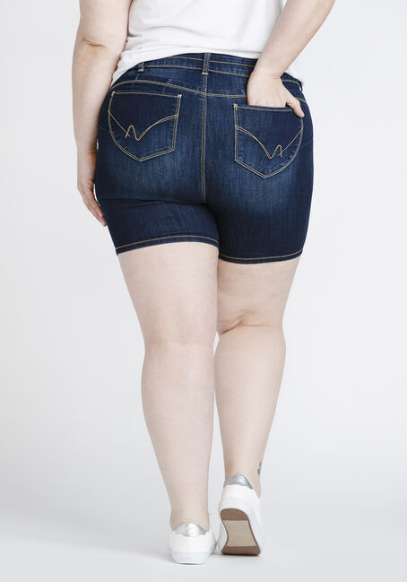 Women's Plus Size Mid Rise Short, DARK WASH, hi-res