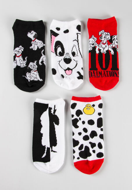 Women's 5 Pair Dalmation Socks, RED, hi-res