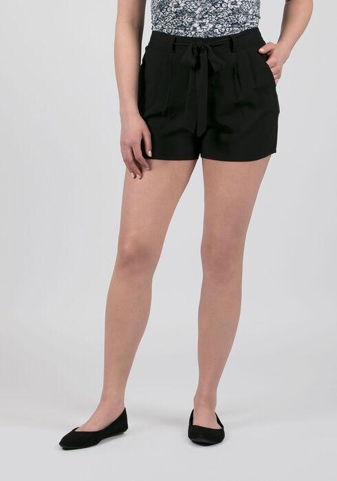 Ladies' Tie Front Soft Short, BLACK, hi-res