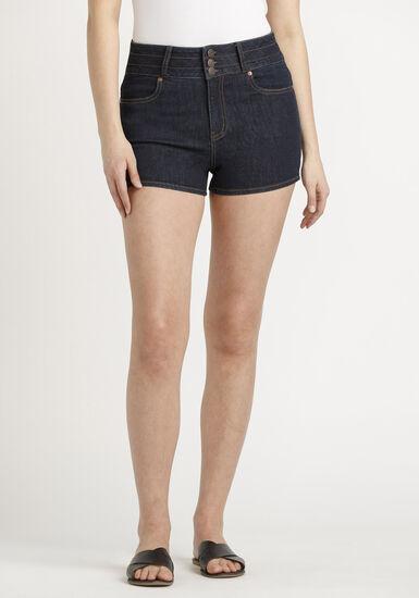Women's 3 Button Stacked Short, DARK WASH, hi-res