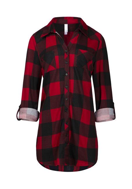 Women's Knit Buffalo Plaid Tunic Shirt