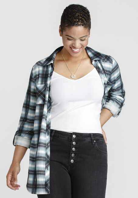 Women's Knit Plaid Tunic Shirt, PALE BLUE, hi-res