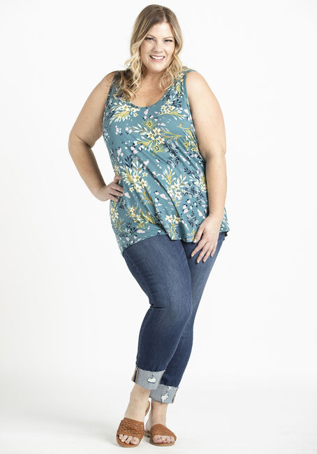 Women's Floral Loose Fit Tank, TEAL, hi-res