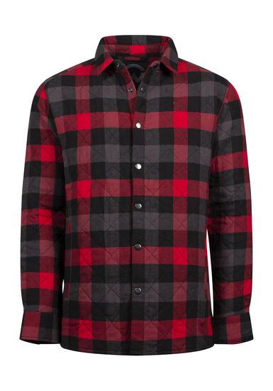 Men's Flannel Work Jacket, RED, hi-res