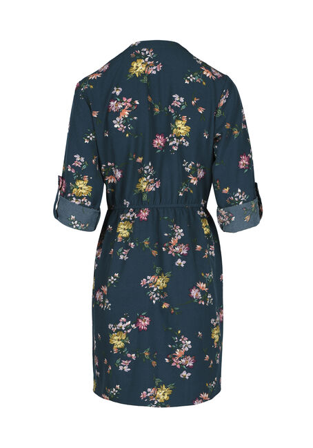 Ladies' Floral Shirt Dress, TEAL PRINT, hi-res