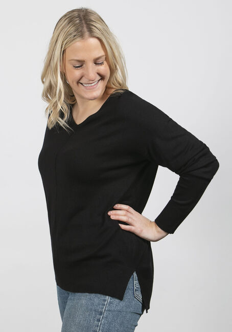 Women's Fine Gauge Pullover, BLACK, hi-res