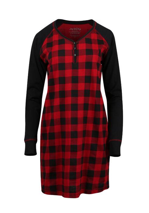 Women's Plaid Sleepshirt, TRUE RED/BLACK, hi-res