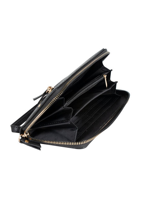 Women's Wristlet Wallet, BLACK, hi-res