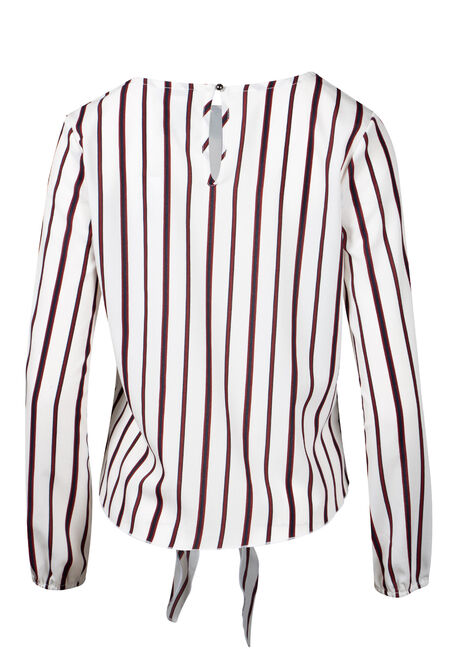 Women's Stripe Tie Blouse, IVORY/BURGUNDY, hi-res