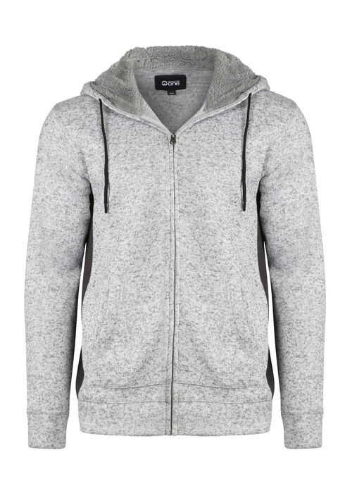 Men's Sweater Knit Zip Front Hoodie, WINTER WHITE, hi-res