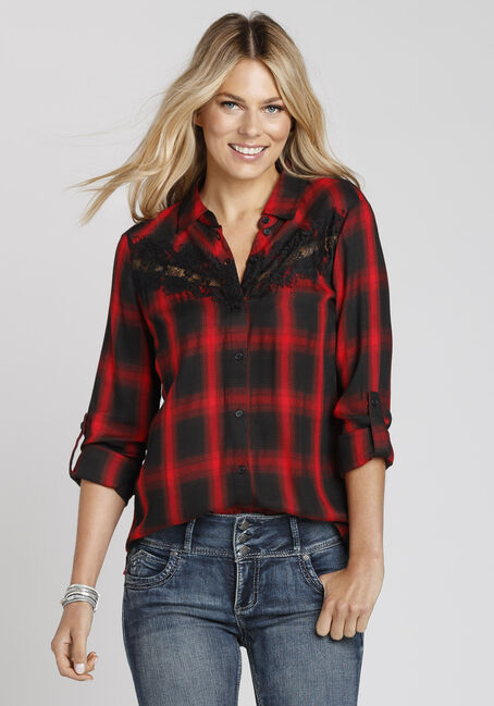 Ladies' Lace Trim Plaid Shirt, RED, hi-res