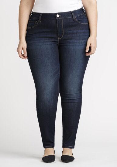 Women's Plus Size Dark Wash Skinny Jeans, DARK WASH, hi-res