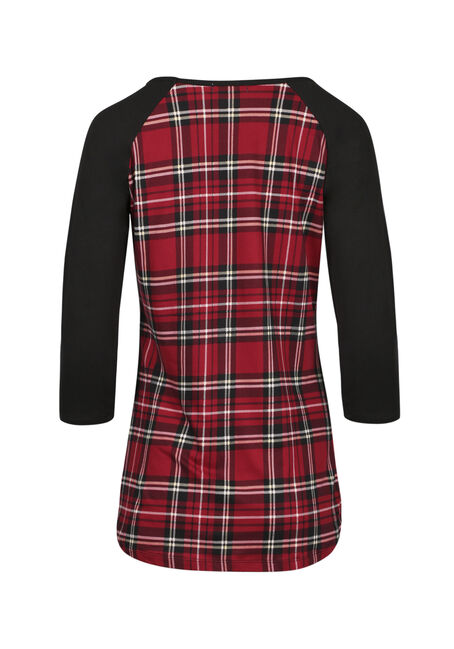 Ladies' Plaid Baseball Tee, TRUE RED/BLACK, hi-res