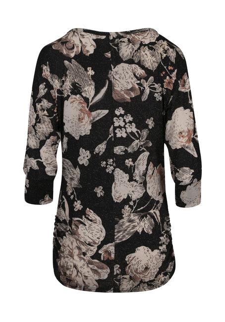 Women's Floral Shimmer Dolman Top, BLACK, hi-res