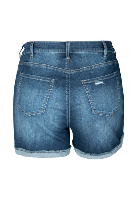Women's Plus Size Cuffed Mid Rise Jean Short, DARK WASH, hi-res