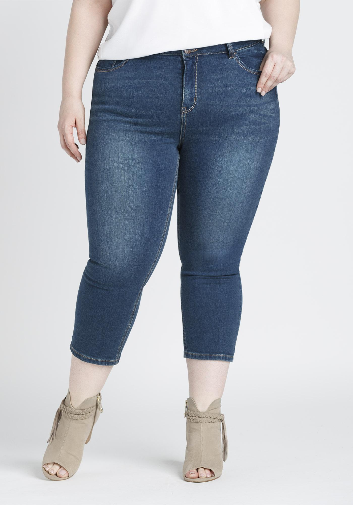 7b7c49852df Women s Plus Size High Rise Skinny Capri
