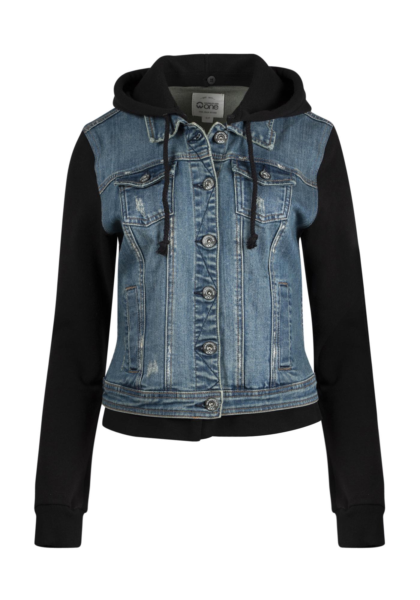 Women s Knit Sleeve Jean Jacket  c1b83c0b3