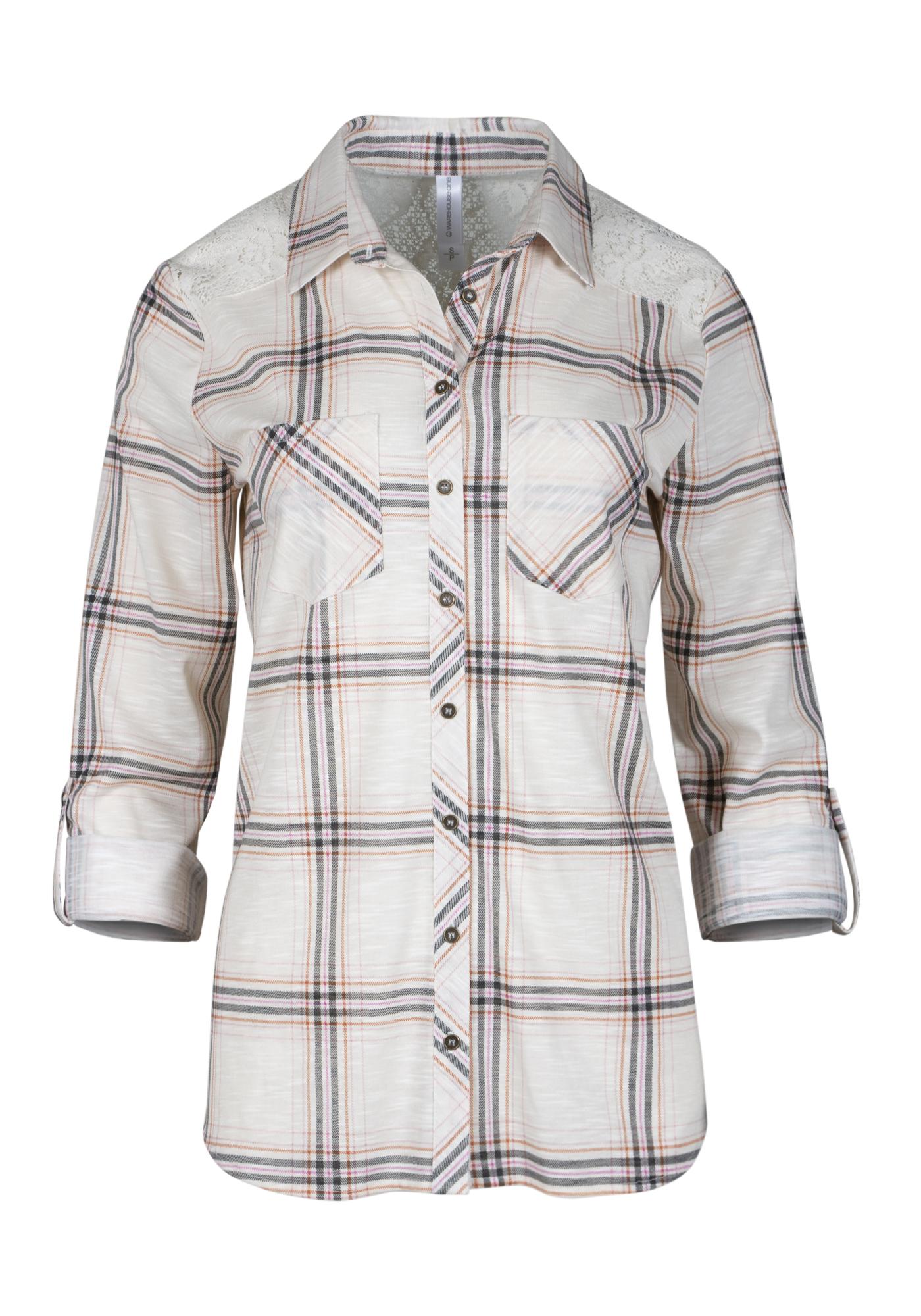 c87cef64 Women's Lace Trim Knit Plaid Shirt, LIGHT PINK, hi-res