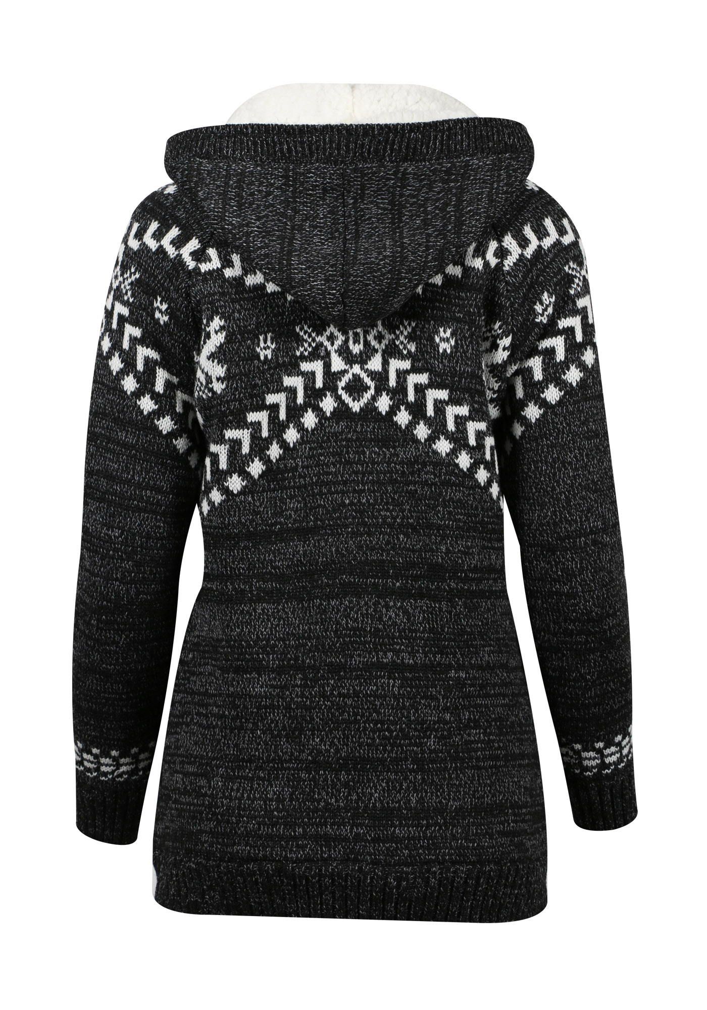 40cc24d54 ... Womens Sherpa Lined Nordic Cardigan, GREY/IVORY, hi-res