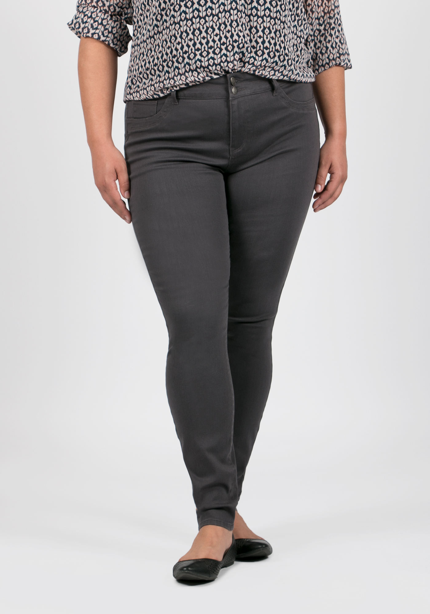 Ladies' Plus Size Skinny Pants, GREY, hi-res