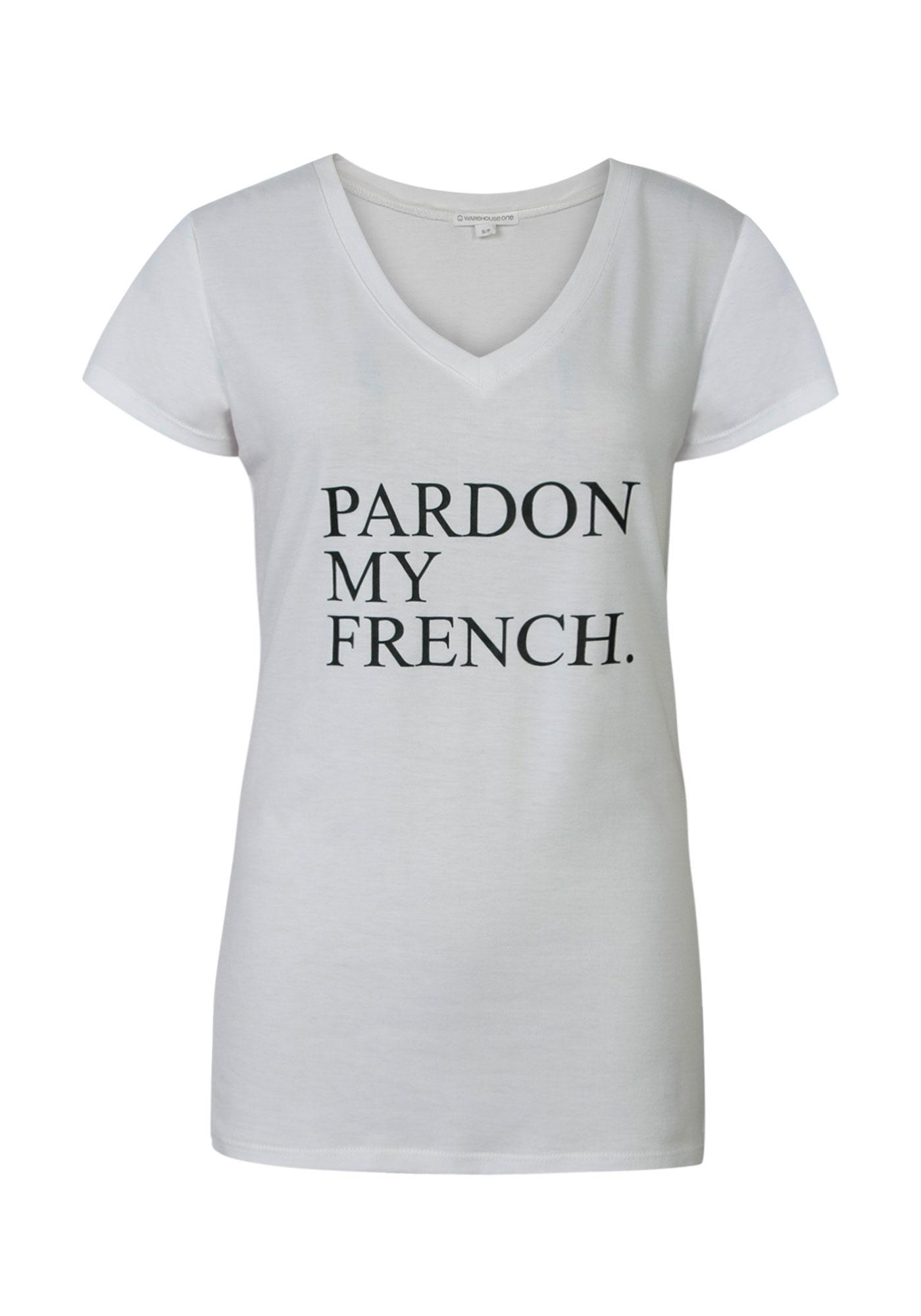 0c2f96c1 Ladies Pardon My French Graphic Tee, WHITE, hi-res ...