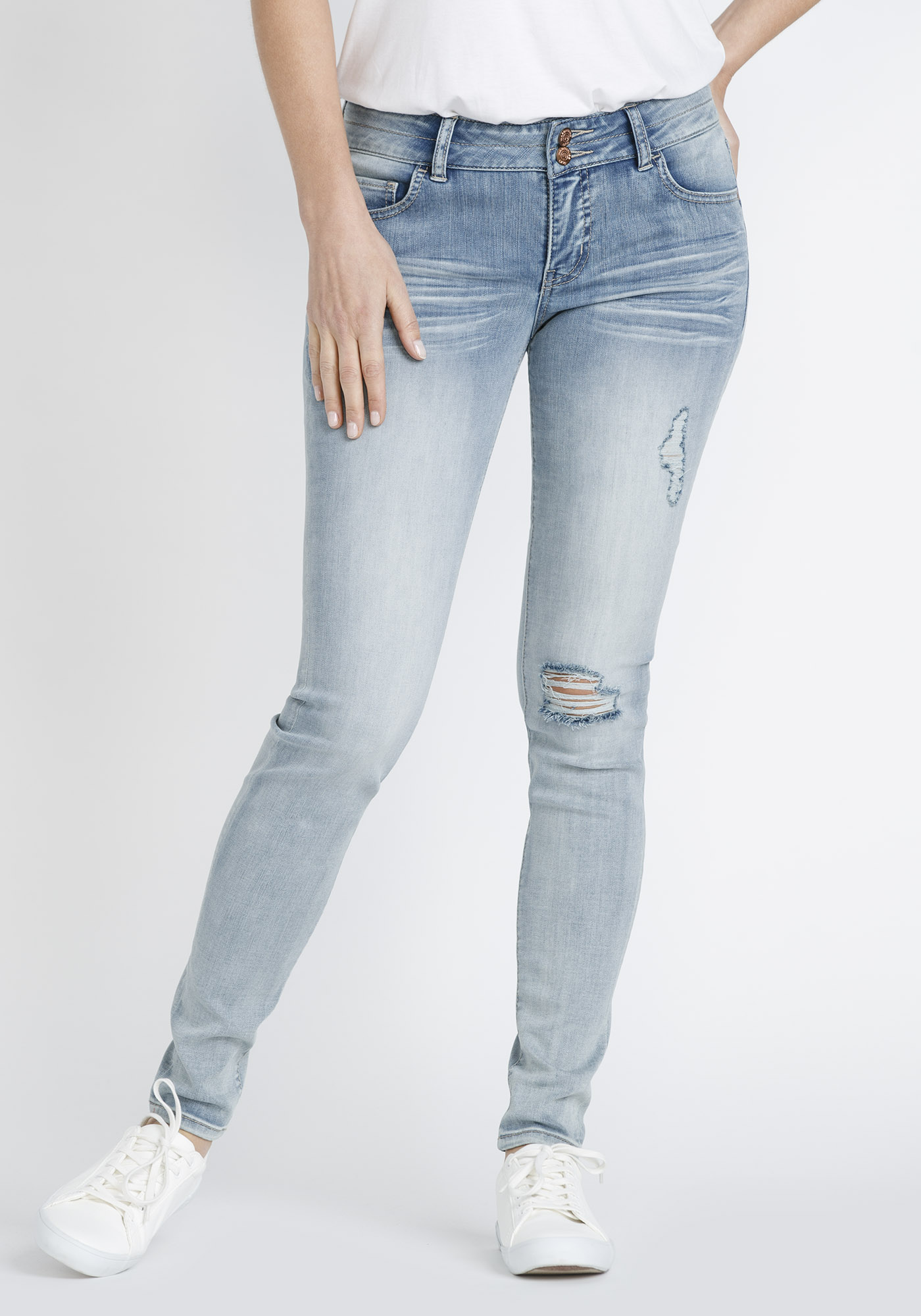 Women's Bleach Wash Distressed Skinny Jeans, LIGHT WASH, hi-res