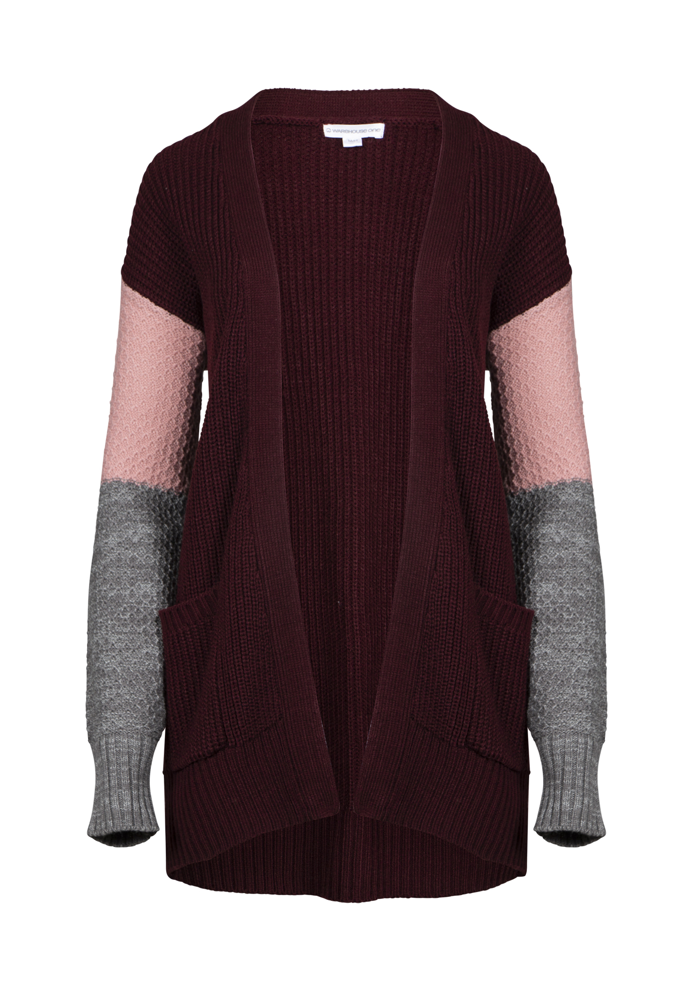 Women's Chunky Knit Colour Block Cardigan, BURGUNDY/PINK, hi-res