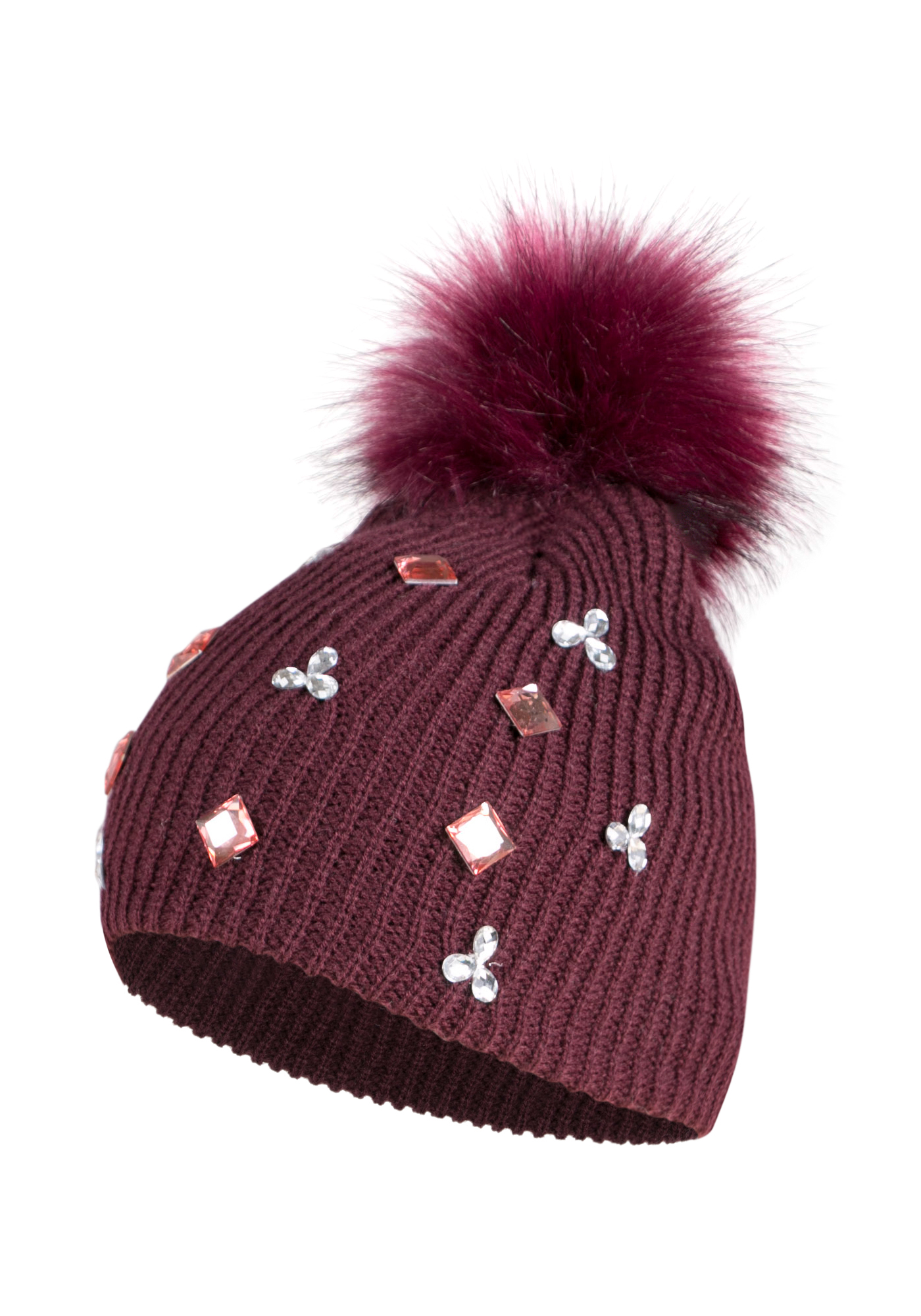 Ladies' Rhinestone Pom Pom Hat, BURGUNDY, hi-res