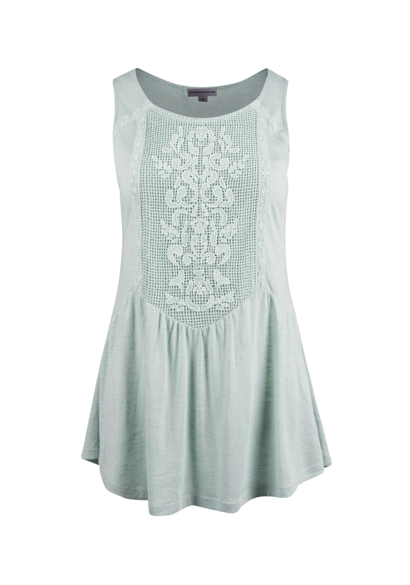 Ladies' Tonal Lace Peplum Tank, MEADOW GREEN, hi-res