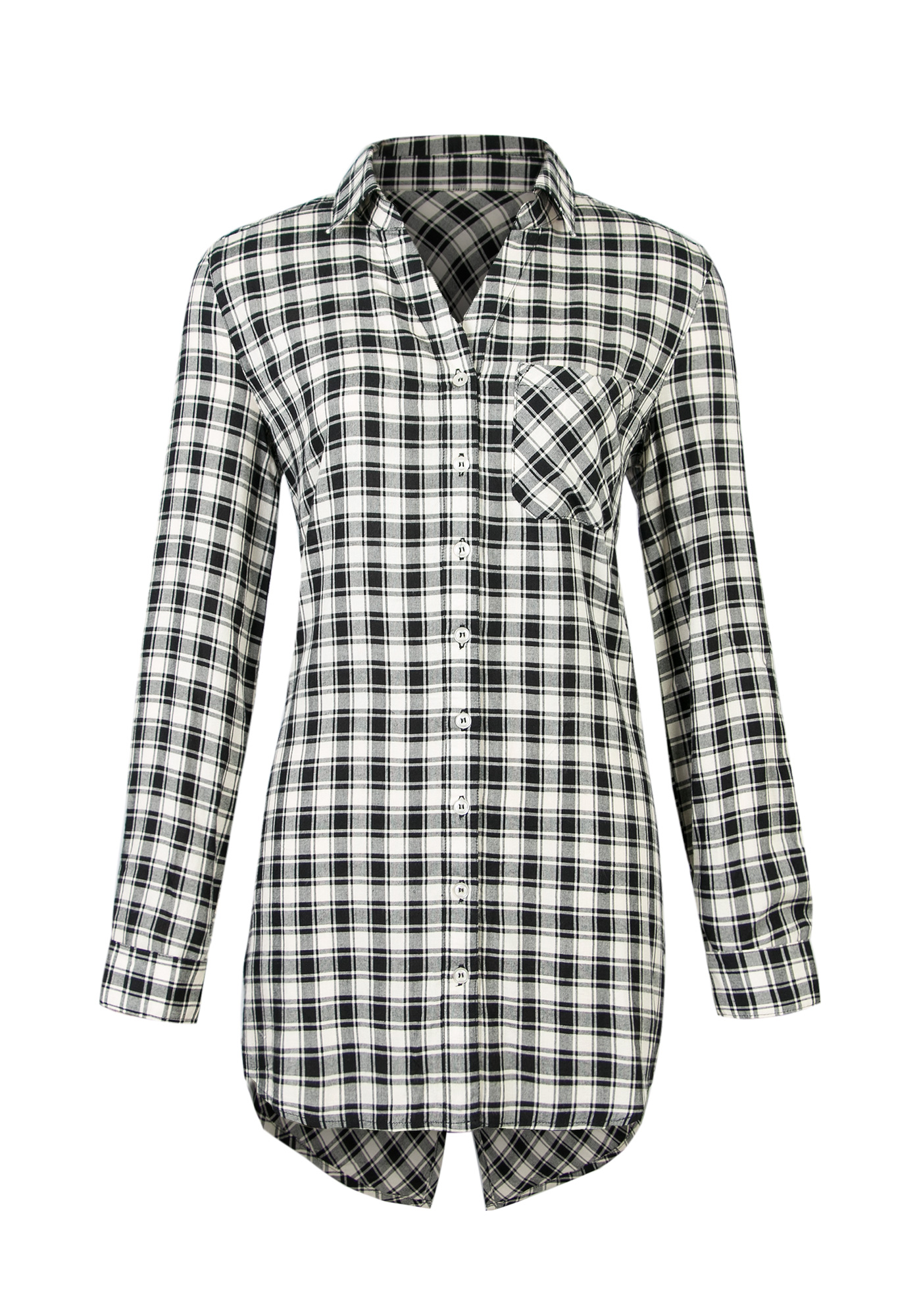 60fa72d4d4219 Ladies Black And White Plaid Shirt