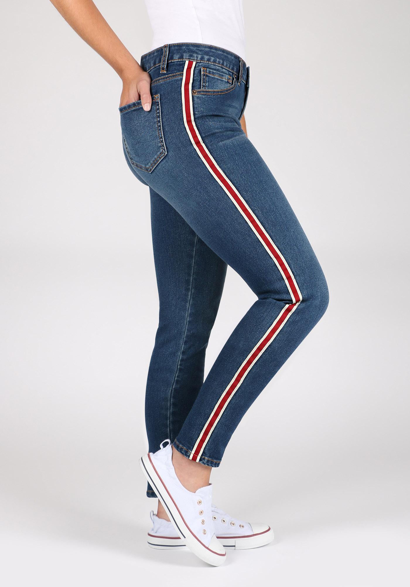 Ladies Side Stripe Skinny Jeans