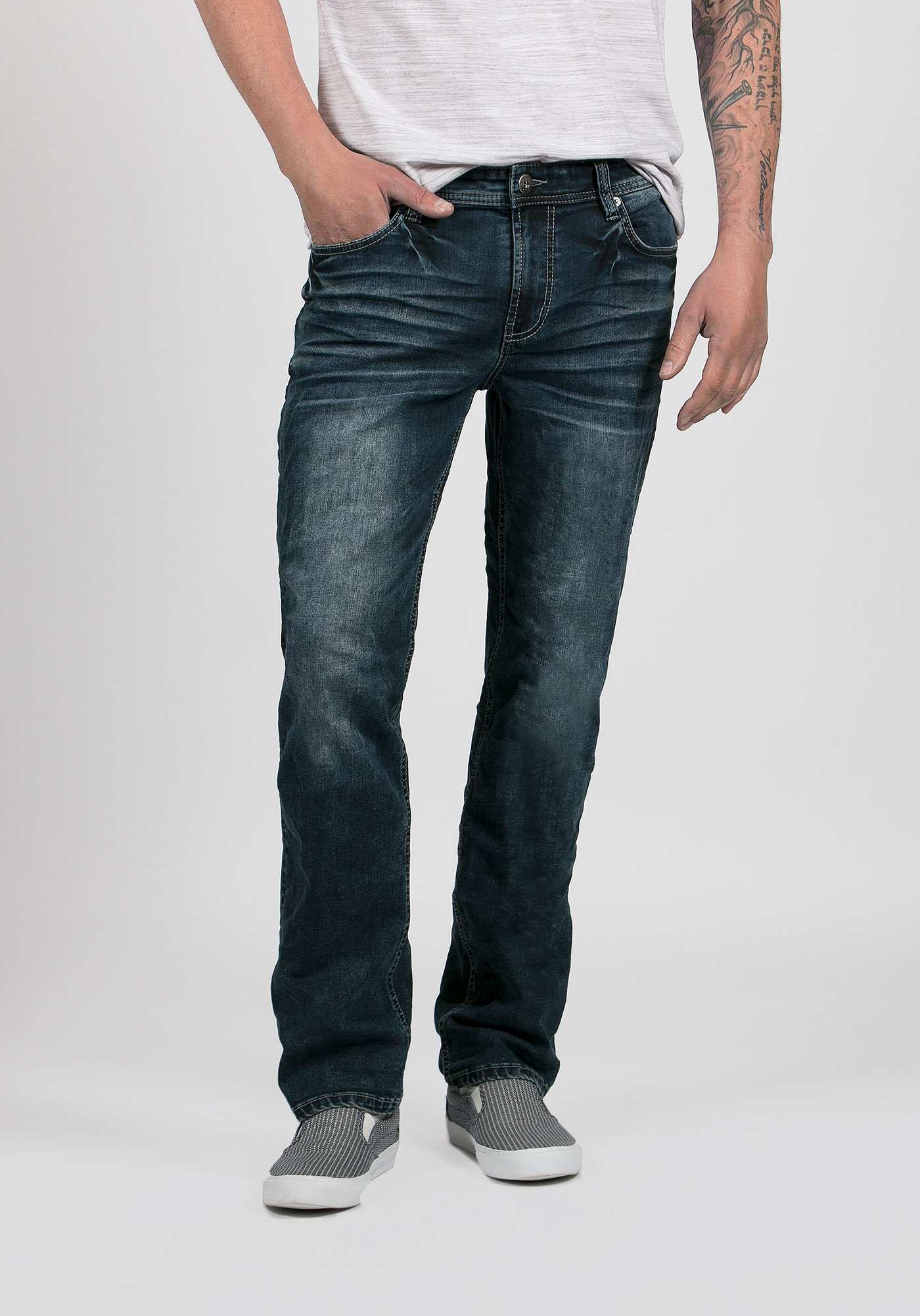 Slim Straight Denim Jeans. You like the feel of the classic straight-leg jeans, but you're looking for something that fits you a little better. Slim straight denim jeans are perfect for you. While they won't cling, they're casual fitted around the seat and thigh area to add a little shape to your legs. They're also extremely comfortable.