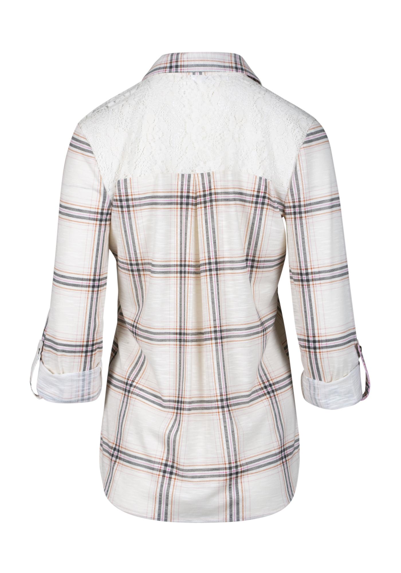 e193883a ... Womens Lace Trim Knit Plaid Shirt, LIGHT PINK, hi-res