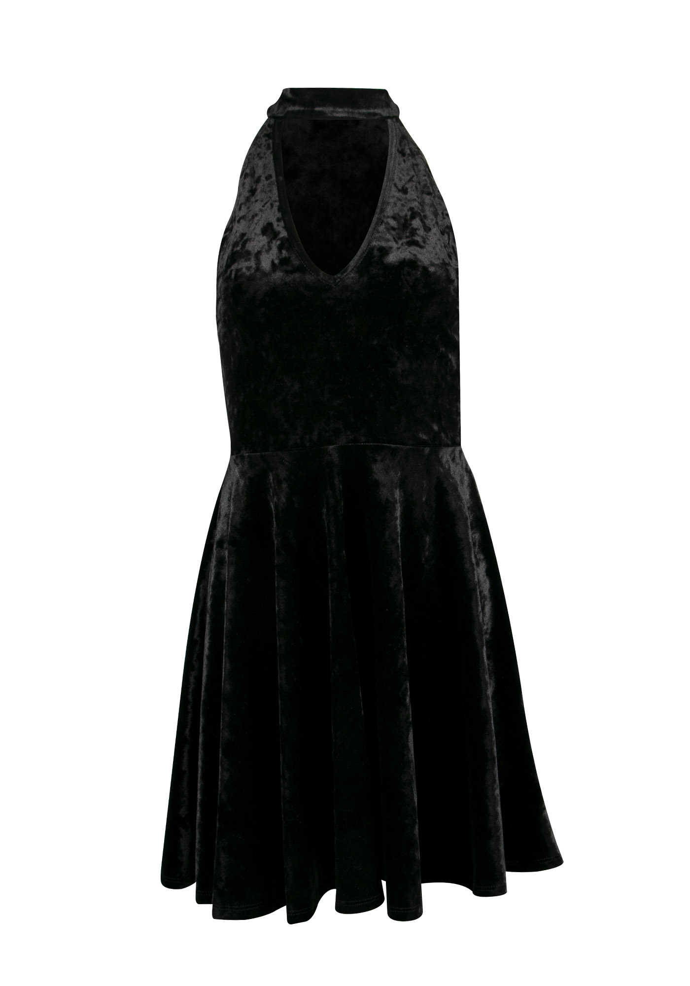 Ladies' Velvet Skater Dress, BLACK, hi-res