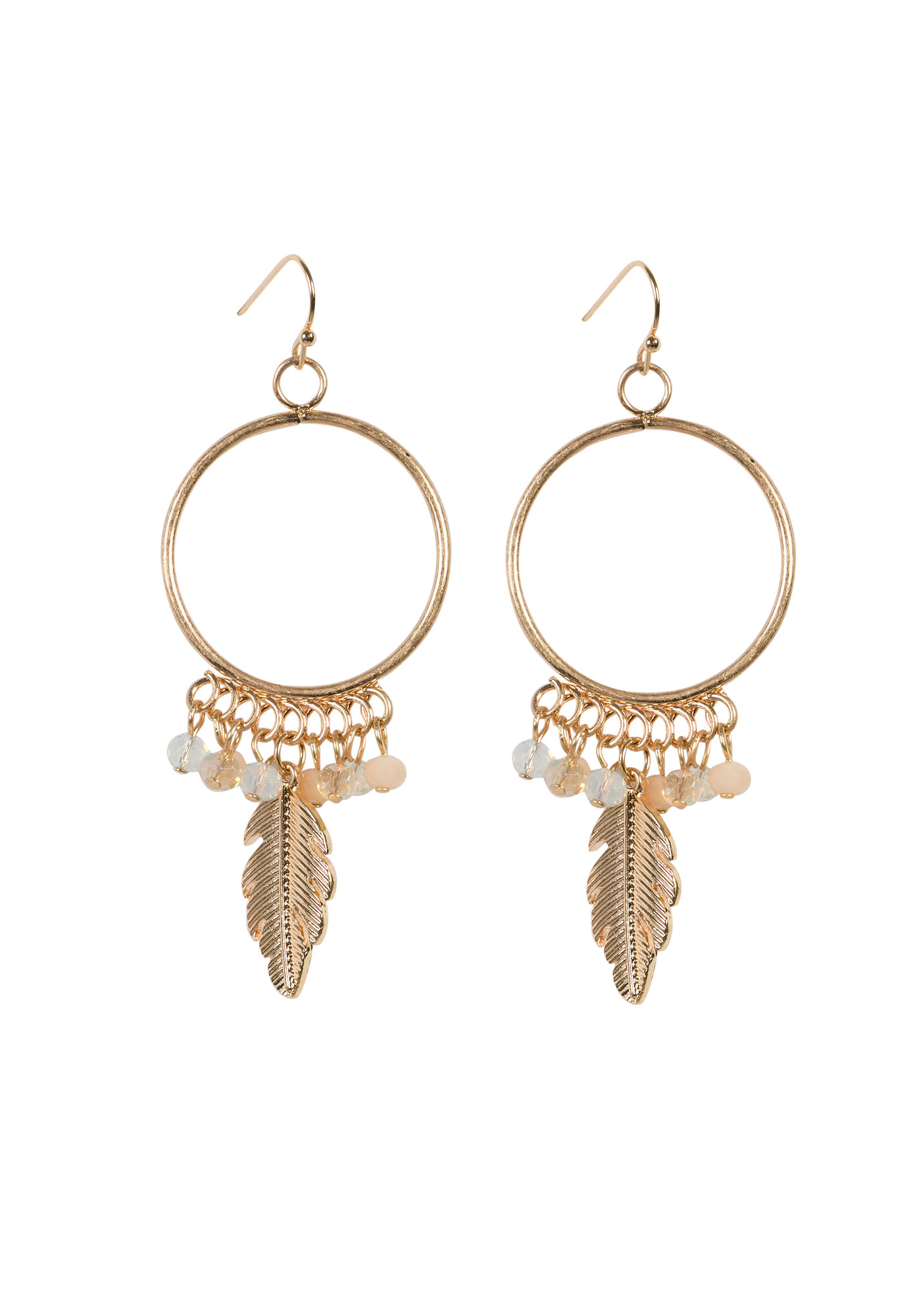 Ladies' Feather Charm Hoop Earring, GOLD, hi-res