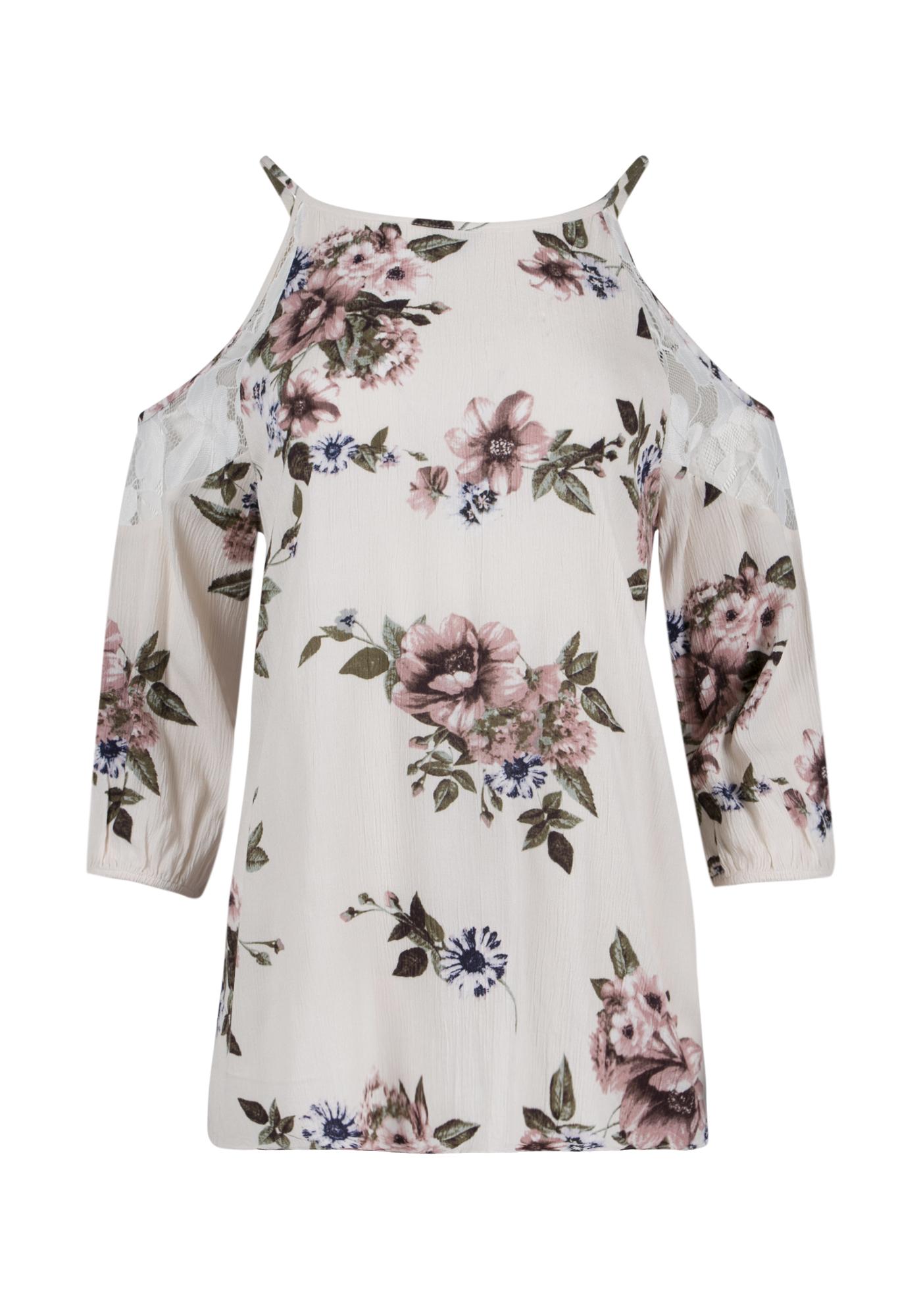 ccdacc5abee8f Ladies  Floral Cold Shoulder Top
