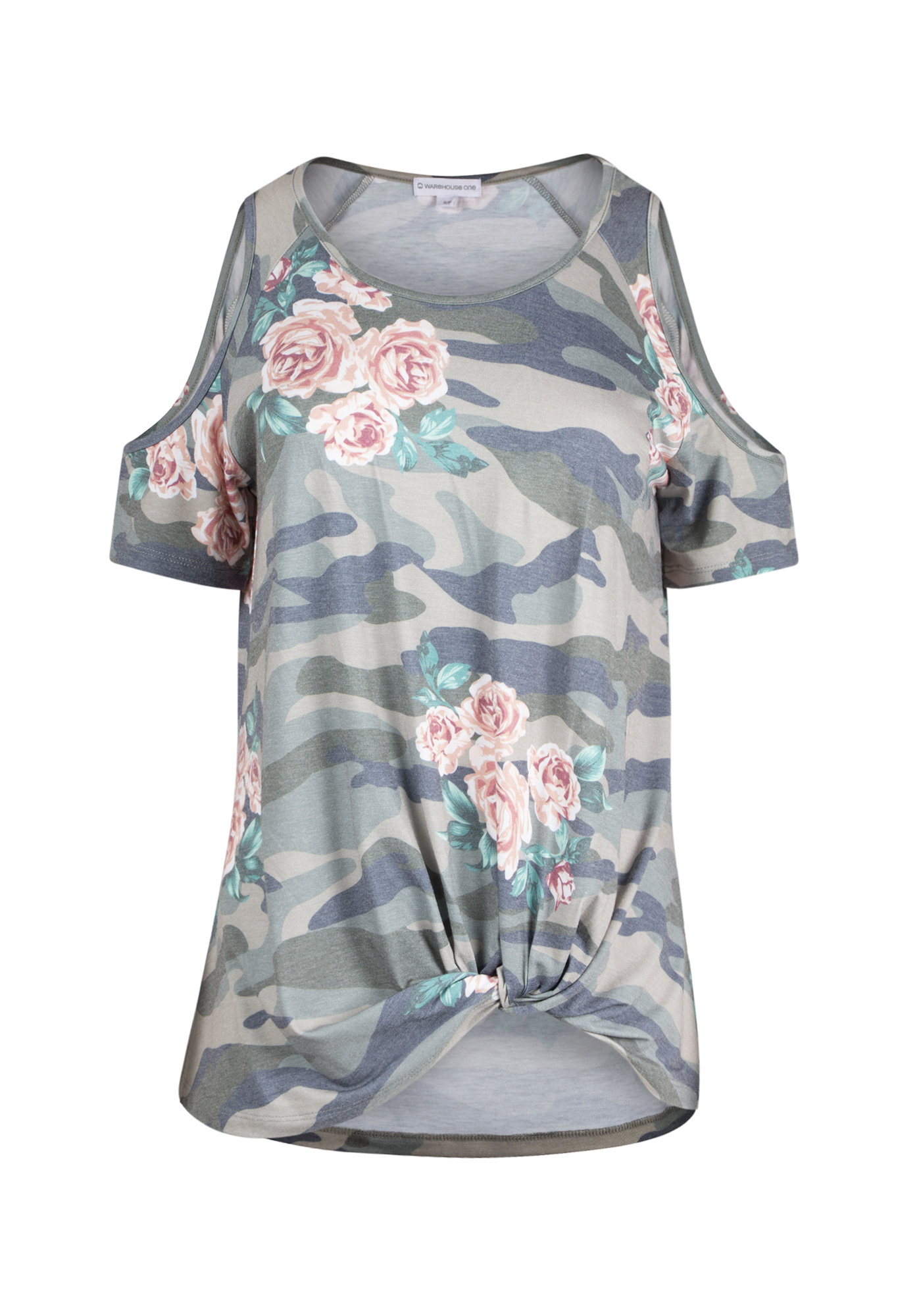 ab1842977a46a4 Ladies  Camo Knotted Cold Shoulder Top