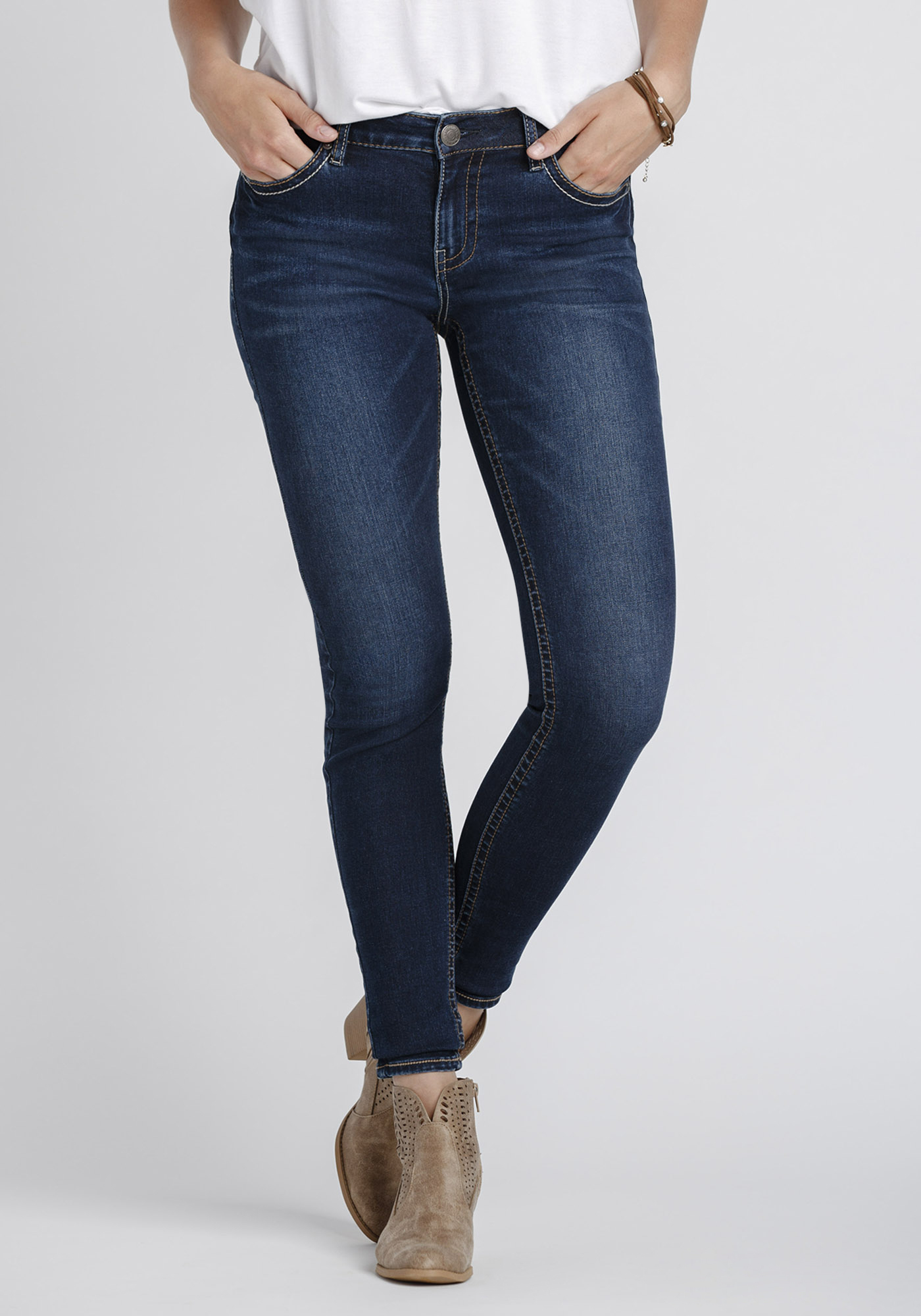 Womens Indigo Stacked Button Skinny Jeans   Warehouse One
