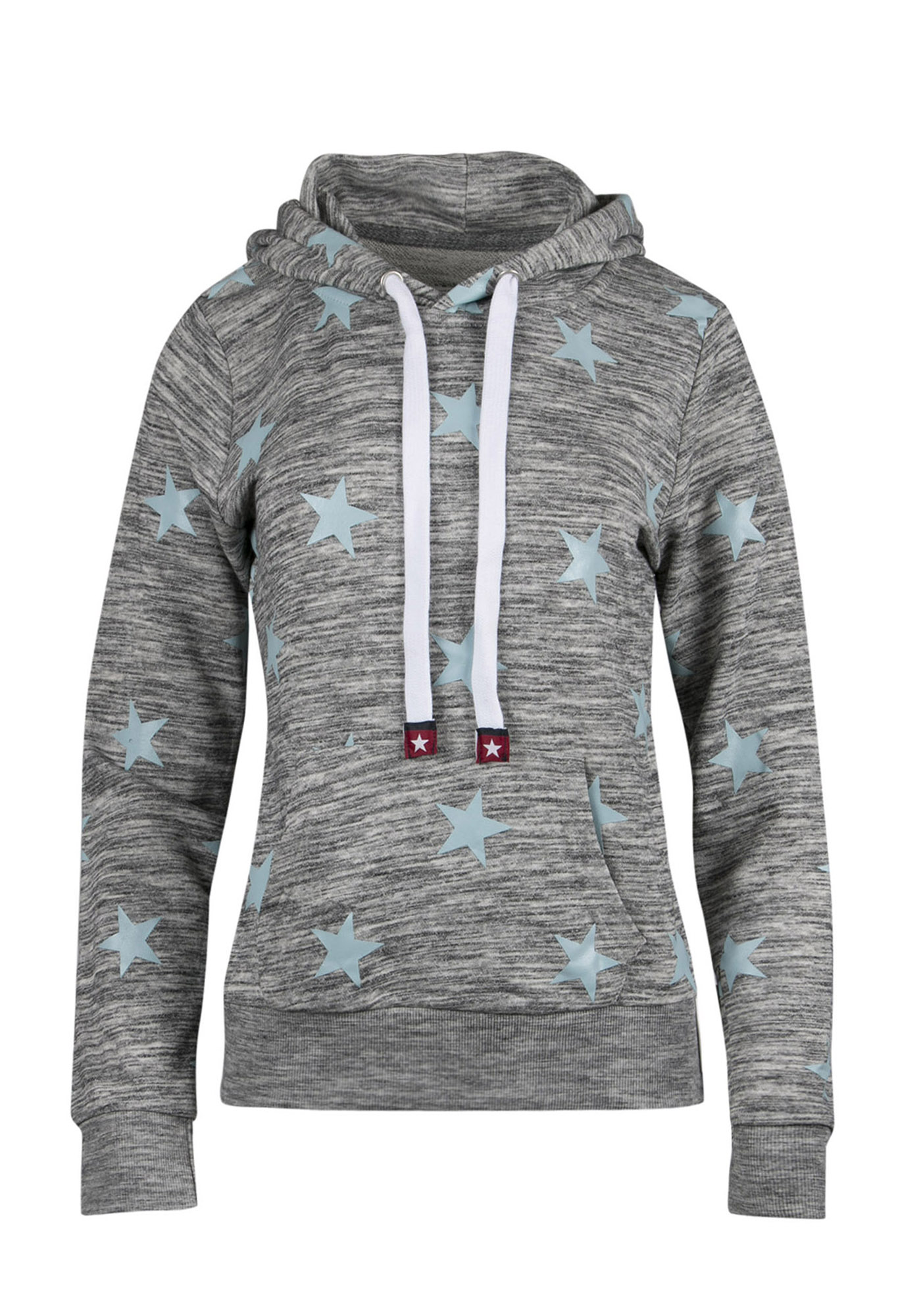 Ladies' Star Popover Hoodie, CHAR/DUSTY BLUE, hi-res