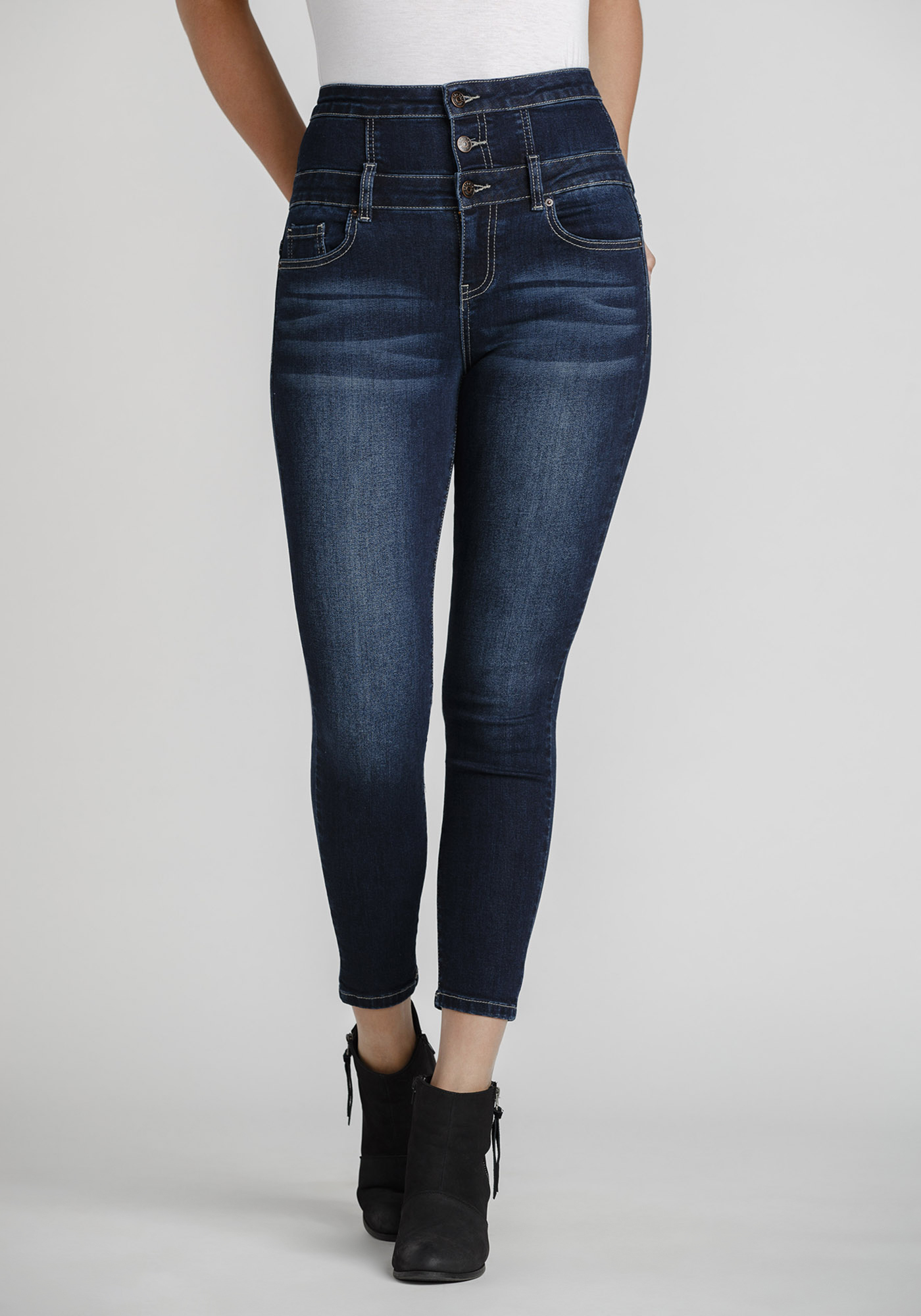 Womens Destroyed Lace Skinny Jeans