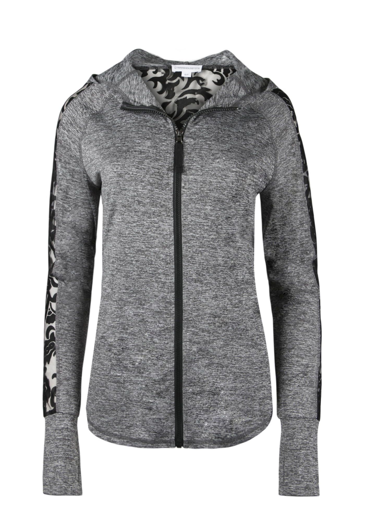 Ladies' Lace Insert Hoodie, GREY/ BLACK, hi-res