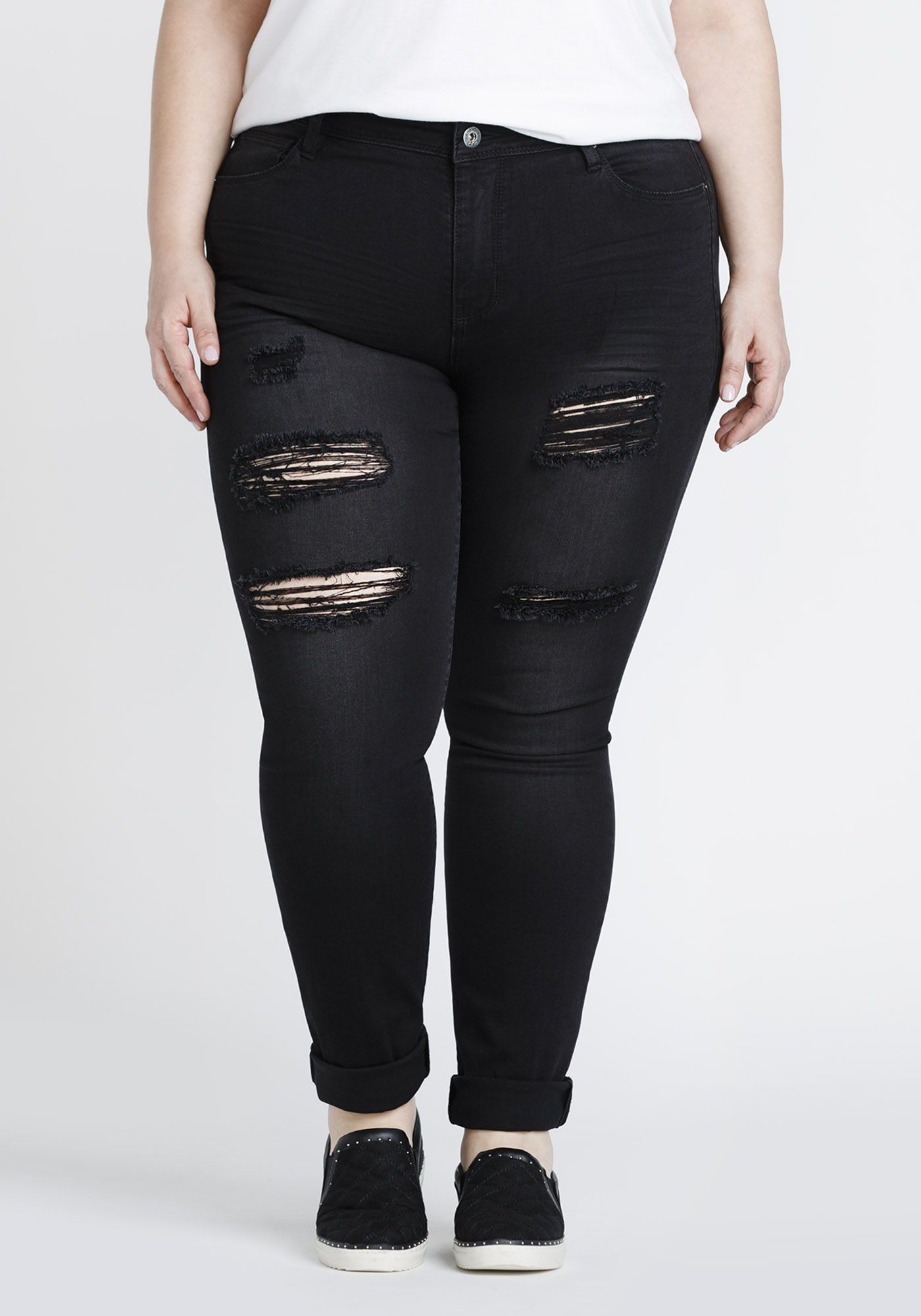 b8c8b246881 Women's Plus Size Black Ripped Skinny Jeans | Warehouse One