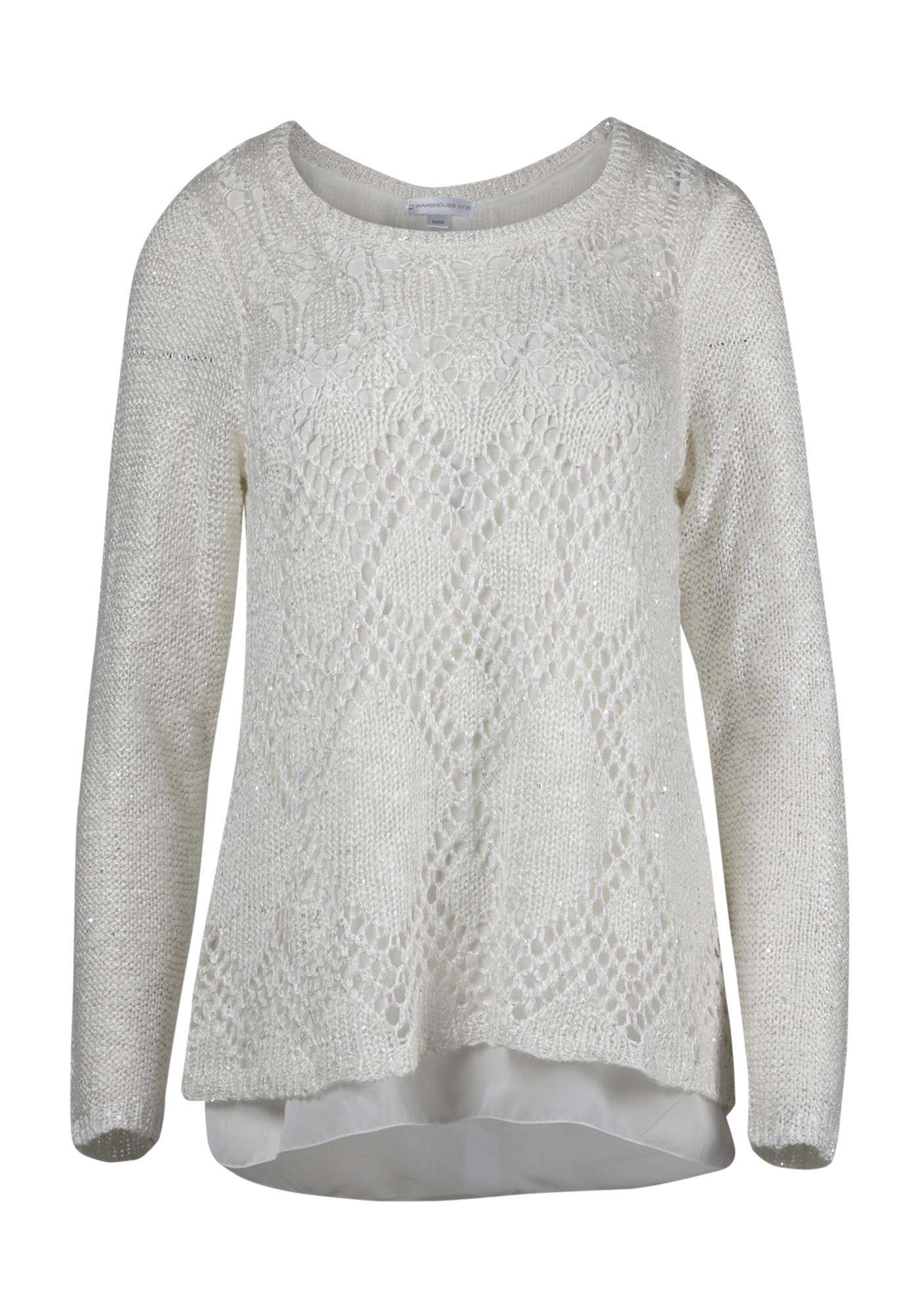 Womens Chiffon Back Shimmer Sweater Warehouse One