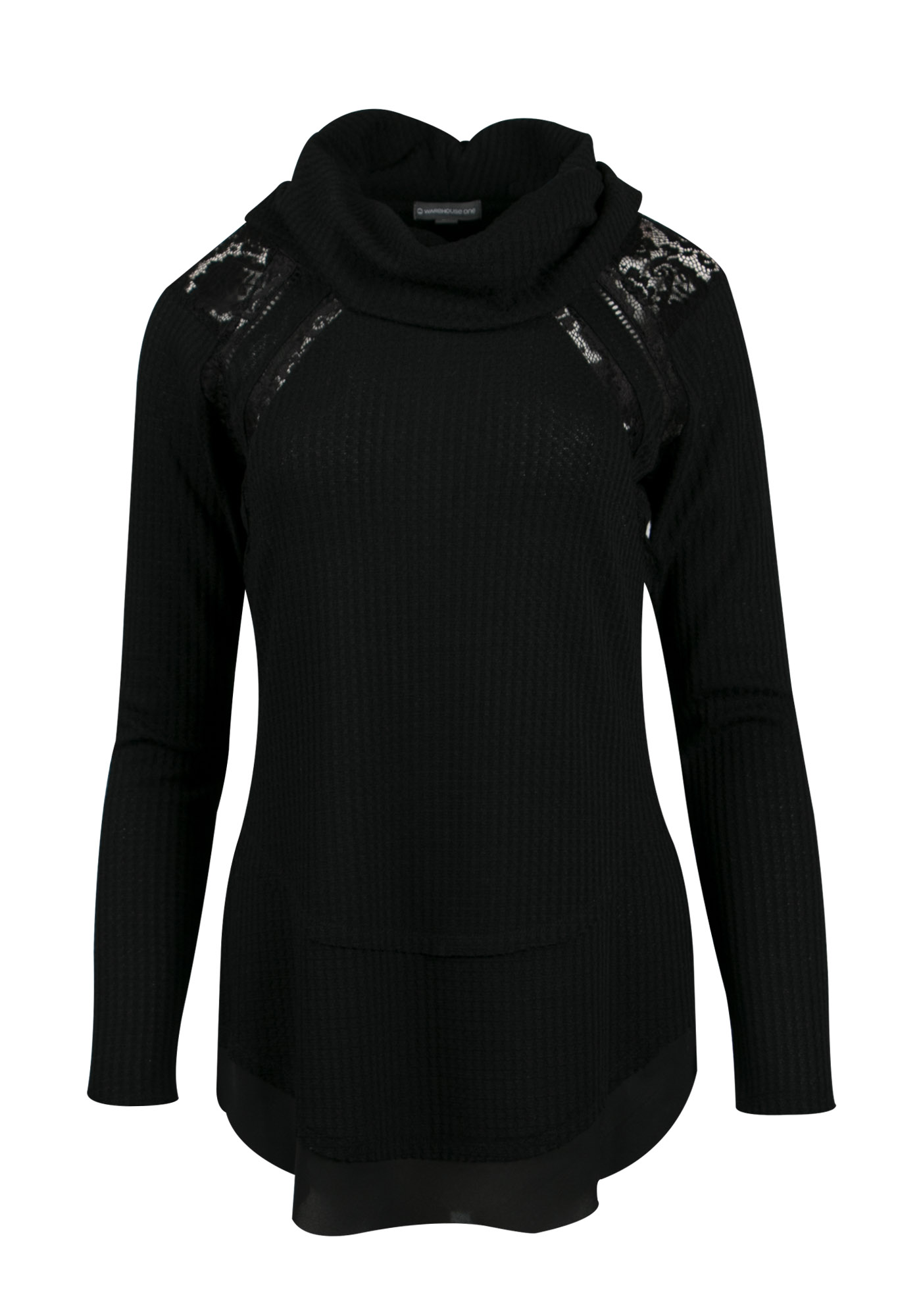 Ladies' Cowl Neck Top, BLACK, hi-res