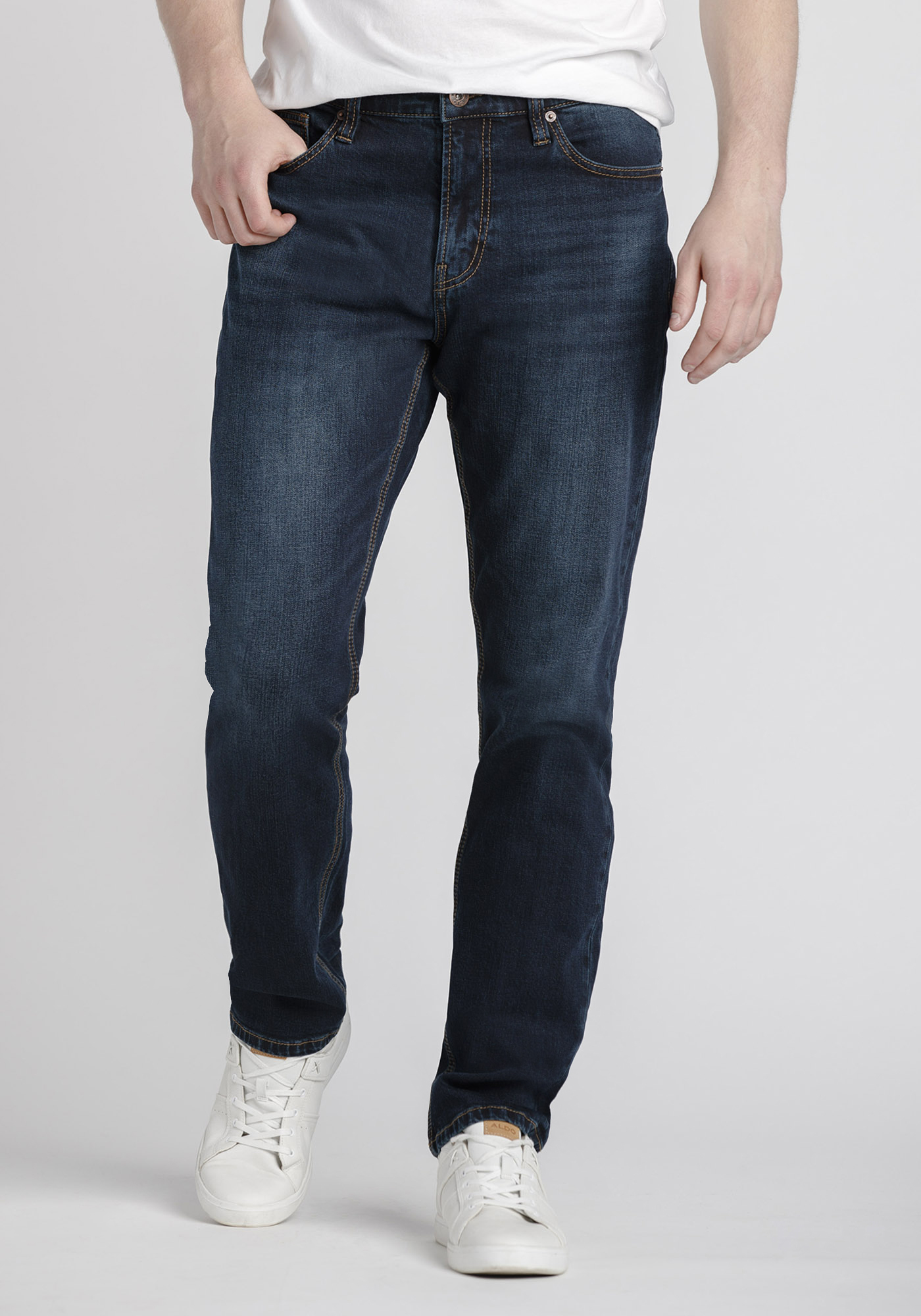 Men's Dark Wash Athletic Jeans, DARK WASH, hi-res