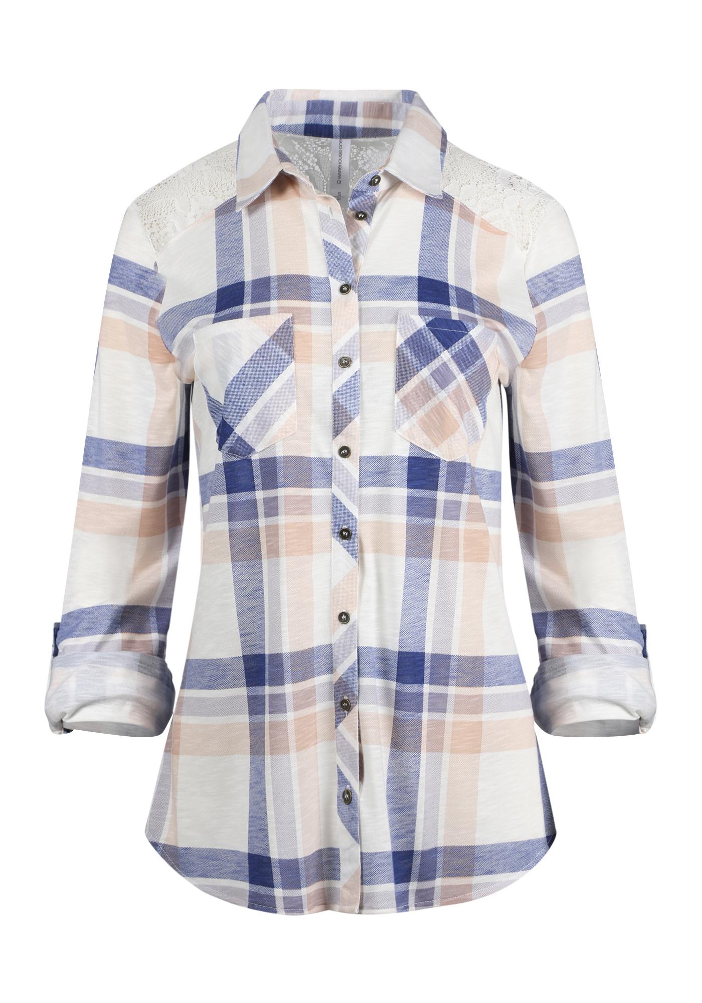 3b11ee0b Women's Lace Trim Knit Plaid Shirt, IVORY/LAVENDER, hi-res